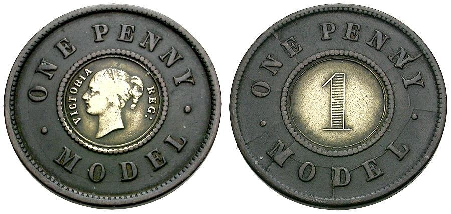 Ancient Coins - Great Britain. Victoria Bi-Metallic Penny Model Token / Non-Selected Trial Strike