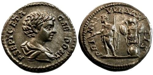 Ancient Coins - EF/gVF Geta AR Denarius / Trophy