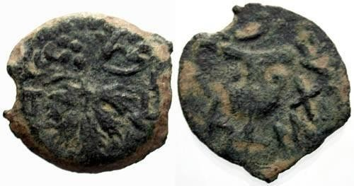 Ancient Coins - F+/F+ Jewish War Year Two Bronze / Amphora and Vine leaf