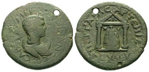 Ancient Coins - aVF/aVF Salonina AE27 Perge Pamphilia / Artemis in Temple / Holed