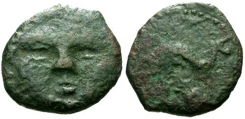 Ancient Coins - VF/aVF Spain Gades AE14 / Gorgon Facing RR