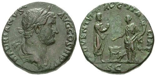 Ancient Coins - VF/VF Hadrian Sestertius / Hadrian and Italia sacrificing