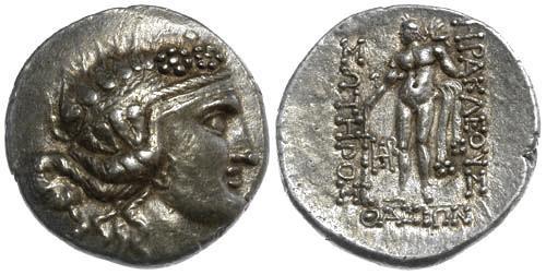 Ancient Coins - EF/EF Islands off Thrace, Thasos AR Tetradrachm Dionysos Nude Hercules