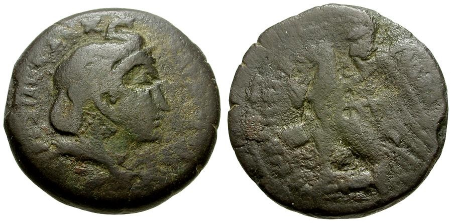 Ancient Coins - Ptolemaic Kings of Egypt.  Ptolemy VI Philometor. Second sole reign Æ21 / Alexander The Great