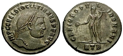 Ancient Coins - VF/VF Diocletian Large Silvered Follis / Genius