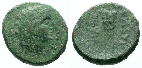 Ancient Coins - gF/gF Lucania Paestum AE18 / Demeter / Grain ears