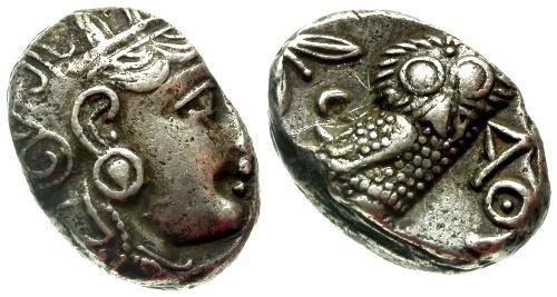 Ancient Coins - aVF/VF Attica Athens Owl Tetradrachm
