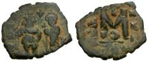 Ancient Coins - Byzantine Empire.  Constans II with Constantine IV Æ Follis