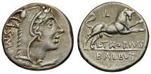 105 BC - Roman Republic. L. Thorius Balbus AR Denarius / Juno Sospita / Bull