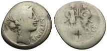 57 BC - Roman Republic.  C. Servilius C. f. AR Denarius / Flora / Two Warriors