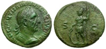 Ancient Coins - Trajan Decius Æ Semis / Mars