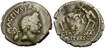 Ancient Coins - Roman Imperatorial. Sextus Pompey AR Denarius / Neptune and Catanean Brothers