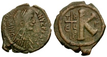 Ancient Coins - Byzantine Empire. Justinian I Æ Half Follis