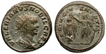 Ancient Coins - Valerian II as Caesar AR Antoninianus / Valerian crowning trophy