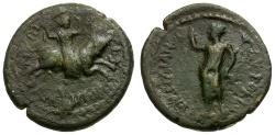 Ancient Coins - Claudius. Macedon. Amphipolis Æ20 / Artemis Riding Bull