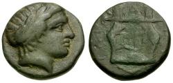 Ancient Coins - Macedon. Chalkidian League. Olynthos Æ16 / Kithara