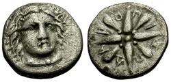 Ancient Coins - Carian Satraps, Pixodaros AR 1/4 Drachm / Apollo / Star
