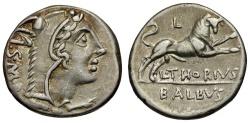 Ancient Coins - 105 BC - Roman Republic. L. Thorius Balbus AR Denarius / Juno Sospita / Bull
