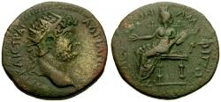 Ancient Coins - Hadrian, Macedon, Amphipolis Æ25 / Tyche Seated