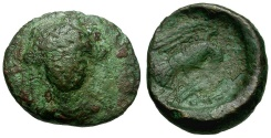 Ancient Coins - Euboia.  Chalkis Æ14 / Hera and Eagle