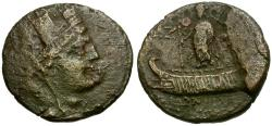 Ancient Coins - Phoenicia. Tyre Æ19 / Astarte in Galley