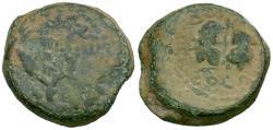Ancient Coins - Judaea. Hasmoneans. Mattathias Antigonus (40-37 BC) Æ 8 Prutot / Double Cornucopia