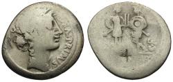 Ancient Coins - 57 BC - Roman Republic.  C. Servilius C. f. AR Denarius / Flora / Two Warriors