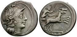 Ancient Coins - 157-156 BC - Roman Republic. Anonymous AR Denarius / Victory in biga