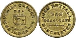 World Coins - England. Lancashire. Manchester. JohnNuttall Brass Farthing