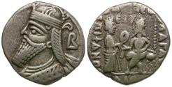 Ancient Coins - Kings of Parthia. Vologases IV (AD 147-191) BI Tetradrachm / Tyche and Vologases
