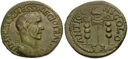 Ancient Coins - Trajan Decius. Pisidia. Antioch Æ25 / Legionary Eagle and Standards