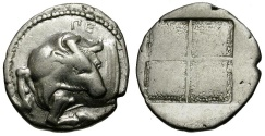 Ancient Coins - Macedon. Akanthos AR Tetrobol / Bull