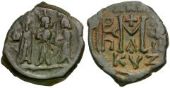 Ancient Coins - *Sear 841* Byzantine Empire. Heraclius (AD 610-641) with Martina and Heraclius Constantine Æ Follis