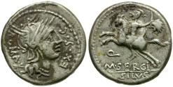 Ancient Coins - 116-115 BC - Roman Republic. M. Sergius Silus AR Denarius / Horseman with Severed Head