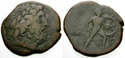 Ancient Coins - gF/gF Sicily, Messana under the Mamertinoi Æ Pentonkion / Zeus / Warrior