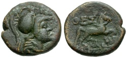 Ancient Coins - Thessaly.  Thessalian League Æ18 / Athena and Horse