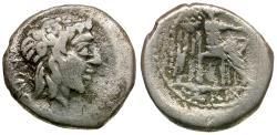 Ancient Coins - 89 BC - Roman Republic. M. Cato AR Quinarius / Bacchus