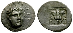 Ancient Coins - Caria. Rhodos. Timocrates Magistrate AR Hemidrachm / Rose