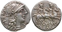 Ancient Coins - 136 BC - Roman Republic. Cn. Lucretius Trio AR Denarius / Dioscuri