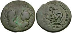 Ancient Coins - Elagabalus (AD 218-222) with Julia Maesa. Moesia Inferior. Marcianopolis Æ28 / Snake