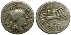 Ancient Coins - 124 BC - Roman Republic. Q. Fabius Labeo AR Denarius / Jupiter in Quadriga