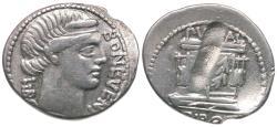 Ancient Coins - 62 BC - Roman Republic. L. Scribonius Libo AR Denarius / Well Head