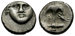 Ancient Coins - Thrace. Apollonia Pontica AR Diobol / Apollo and Anchor