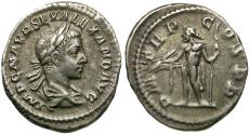 Ancient Coins - Severus Alexander (AD 222-235) AR Denarius / Jupiter