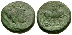 Ancient Coins - Thessaly. Thessalian League. Isagoras, magistrate Æ17 / Horse and Rider