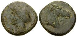 Ancient Coins - gF+/gF+ Spain Carthago Nova Æ Calco / Tanit / Horse