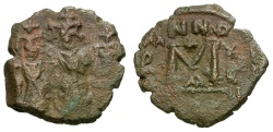 Ancient Coins - Byzantine Empire.  Heraclius with Heraclius Constantine and Martina Æ Follis