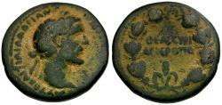 Ancient Coins - Antoninus Pius. Cyrrhestica. Hieropolis Æ25 / Wreath