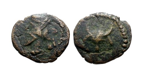 Ancient Coins - aVF/aVF Kings of Parthia Mithradates IV AE Dichalkon / Bulls head