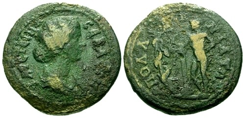Ancient Coins - gF/gF Faustina II Mysia Apollonia AE29 / Apollo